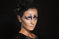 Face of girl with fashion makeup under black veil Royalty Free Stock Images