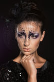Face of girl with fashion makeup under veil Stock Image