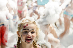 Face of girl in foam party Royalty Free Stock Images