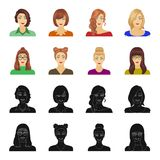 The face of a girl with glasses, a woman with a hairdo. Face and appearance set collection icons in black,cartoon style. Vector symbol stock illustration stock illustration
