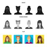 The face of a girl with glasses, a woman with a hairdo. Face and appearance set collection icons in black, flat. Monochrome style vector symbol stock stock illustration