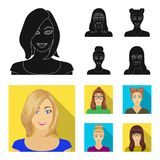 The face of a girl with glasses, a woman with a hairdo. Face and appearance set collection icons in black, flat style. Vector symbol stock illustration royalty free illustration