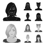The face of a girl with glasses, a woman with a hairdo. Face and appearance set collection icons in black,monochrom. Style vector symbol stock illustration royalty free illustration