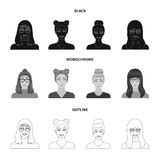 The face of a girl with glasses, a woman with a hairdo. Face and appearance set collection icons in black,monochrome. Outline style vector symbol stock royalty free illustration