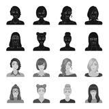 The face of a girl with glasses, a woman with a hairdo. Face and appearance set collection icons in black,monochrome. Style vector symbol stock illustration stock illustration
