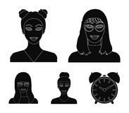 The face of a girl with glasses, a woman with a hairdo. Face and appearance set collection icons in black style vector. Symbol stock illustration royalty free illustration
