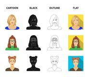The face of a girl with glasses, a woman with a hairdo. Face and appearance set collection icons in cartoon,black. Outline,flat style vector symbol stock royalty free illustration