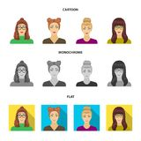 The face of a girl with glasses, a woman with a hairdo. Face and appearance set collection icons in cartoon,flat. Monochrome style vector symbol stock vector illustration