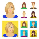 The face of a girl with glasses, a woman with a hairdo. Face and appearance set collection icons in cartoon,flat style. Vector symbol stock illustration vector illustration