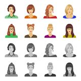 The face of a girl with glasses, a woman with a hairdo. Face and appearance set collection icons in cartoon,monochrome. Style vector symbol stock illustration royalty free illustration