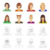 The face of a girl with glasses, a woman with a hairdo. Face and appearance set collection icons in cartoon,outline. Style vector symbol stock illustration royalty free illustration