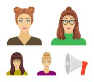The face of a girl with glasses, a woman with a hairdo. Face and appearance set collection icons in cartoon style vector. Symbol stock illustration royalty free illustration