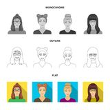 The face of a girl with glasses, a woman with a hairdo. Face and appearance set collection icons in flat,outline. Monochrome style symbol stock illustration vector illustration