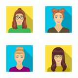 The face of a girl with glasses, a woman with a hairdo. Face and appearance set collection icons in flat style vector. Symbol stock illustration royalty free illustration