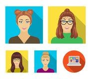 The face of a girl with glasses, a woman with a hairdo. Face and appearance set collection icons in flat style vector. Symbol stock illustration vector illustration