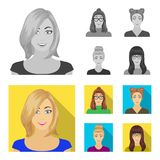 The face of a girl with glasses, a woman with a hairdo. Face and appearance set collection icons in monochrome,flat. Style vector symbol stock illustration royalty free illustration