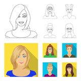 The face of a girl with glasses, a woman with a hairdo. Face and appearance set collection icons in outline,flat style. Vector symbol stock illustration stock illustration