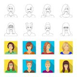 The face of a girl with glasses, a woman with a hairdo. Face and appearance set collection icons in outline,flat style. Vector symbol stock illustration royalty free illustration