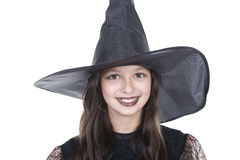 Face of a girl on halloween costume Royalty Free Stock Images