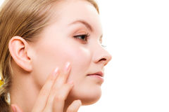 Face girl with healthy pure complexion. Skin care. Stock Photography