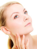 Face girl with healthy pure complexion. Skin care. Stock Images
