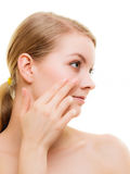 Face girl with healthy pure complexion. Skin care. Royalty Free Stock Photography