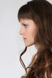 Face of a girl with long hair Royalty Free Stock Image