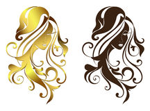 Face of the girl with long hair and floral patterns sketch outline silhouette illustration Royalty Free Stock Photography