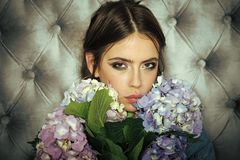 Face girl for magazine cover. Girl face portrait in your advertisnent. Brunette bride with elegant bouquet stock photos