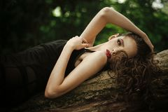 Face girl for magazine cover. Girl face portrait in your advertisnent. Woman with long brunette hair relax on tree on royalty free stock photo