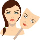 Face of a girl and mask with aged face. concept of rejuvenation. vector illustration. Isolated stock illustration