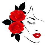 Face of a girl with red roses on a white background. Face of a girl with red roses on a white background, beautiful illustration Stock Illustration