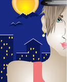 Face. Girl's face close-up on a background of the city at night stock illustration