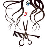 Face Girl scissors and comb Stock Photos