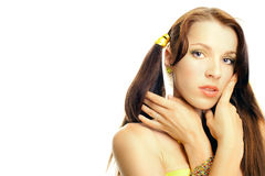 face girl sexual yellow Стоковое Изображение RF