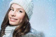 Face girl in winter hat Stock Images