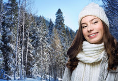 Face girl in winter hat Stock Image