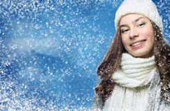 Face girl in winter hat Royalty Free Stock Photo