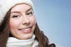 Face girl in winter hat Royalty Free Stock Images