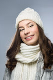 Face girl in winter hat Stock Photo