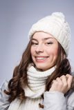 Face girl in winter hat Royalty Free Stock Photos