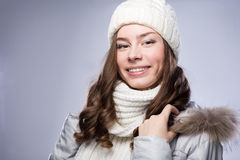 Face girl in winter hat Royalty Free Stock Photography