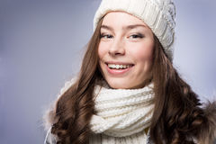 Face girl in winter hat Stock Photography
