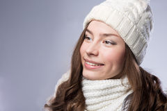 Face girl in winter hat Stock Photos