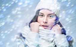 Face girl in winter hat Royalty Free Stock Image