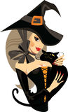 Face girl witch with cat, sexy witch, halloween. Vector drawing of face girl witch with cat, sexy witch, halloween Royalty Free Stock Photography