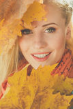 Face of girl with yellow maple leaves Stock Photography