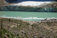 The face of a glacier with pretty striations. Royalty Free Stock Images