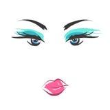Face glamorous girl cartoon Stock Image