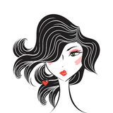 Face glamorous girl cartoon Royalty Free Stock Photography